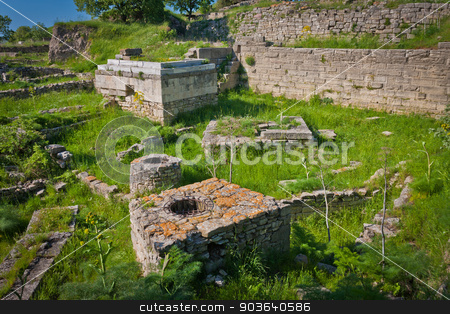 Ruins of the City of Troy stock photo, Portion of the Ancient City of Troy in Turkey by Scott Griessel
