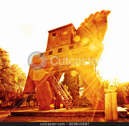 Trojan Horse at Sunset stock photo, Wooden Horse Reconstruction at Troy in Turkey by Scott Griessel
