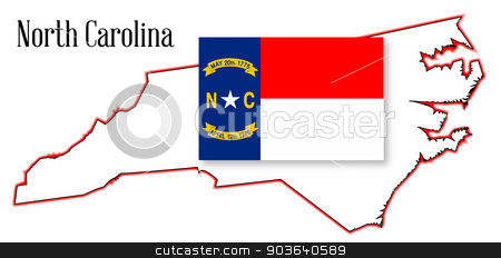 North Carolina State Map and Flag stock vector clipart, Outline map of the state of North Carolina with flag inset by Kotto