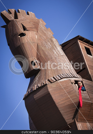Woman Inside of Reconstructed Trojan Horse stock photo, Woman Inside of Reconstructed Trojan Horse at Troy in Turkey by Scott Griessel