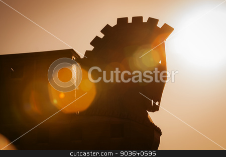Trojan Horse Structure at Troy in Turkey stock photo, Silhouette Trojan Horse Structure at Troy in Turkey with Lens Effects by Scott Griessel