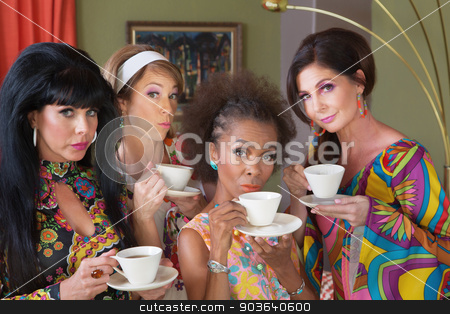 Serious Women Drinking Tea stock photo, Serious group of 1970s style mature women by Scott Griessel