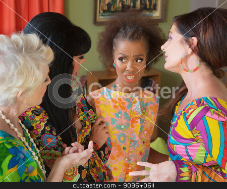 Ladies Bickering stock photo, Diverse group of 1960s style ladies bickering by Scott Griessel