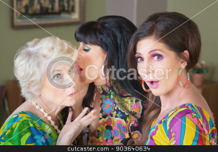 Gossping Lady Whispering stock photo, Middle aged ladies in 1960s clothes whispering secrets by Scott Griessel