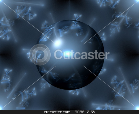 Abstract Blue Globe stock photo, Blue color globe on a fractal background. by Henrik Lehnerer