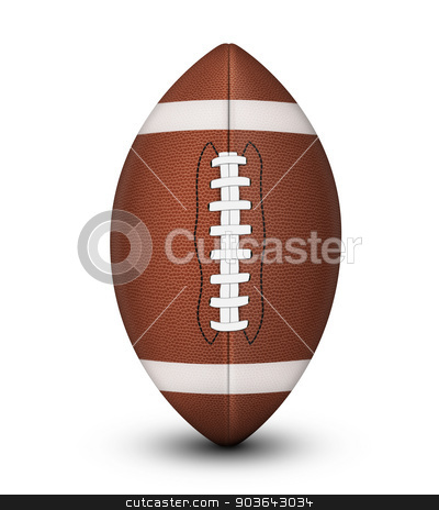 American Football Ball stock photo, Traditional American football ball, with laces and white stripes isolated on a white background with clipping path and shadow. by Alex Stokes