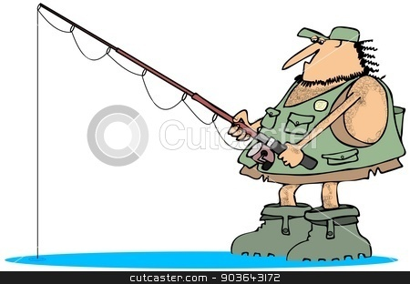 Neanderthal fisherman stock photo, This illustration depicts a caveman wearing rubber boots and a fishing vest holding a pole. by Dennis Cox