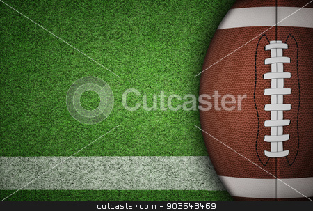 American Football Ball on Grass stock photo, American football ball on green grass and white line. with lots of copy space. by Alex Stokes