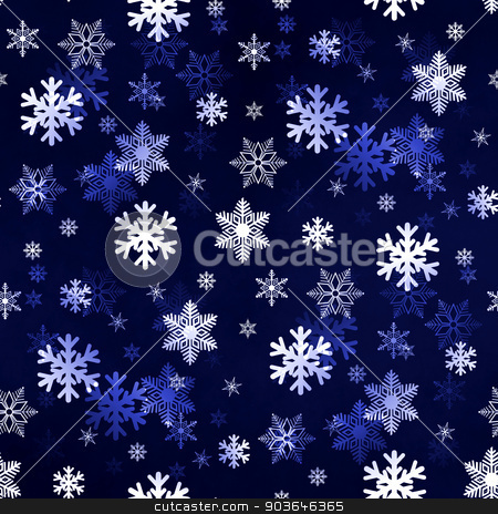 Dark Blue Snowflakes stock photo, Dark blue winter Christmas snowflakes with a seamless pattern as background image. by Henrik Lehnerer