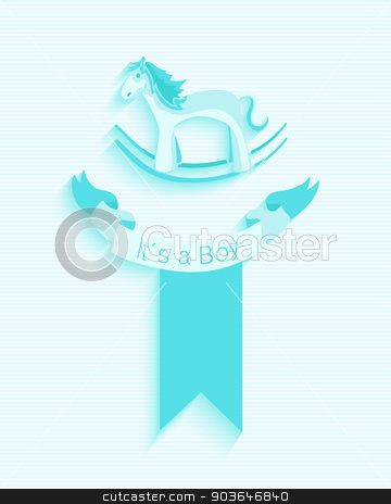 Baby Shower Boy Invitation Card Design Stock Vector