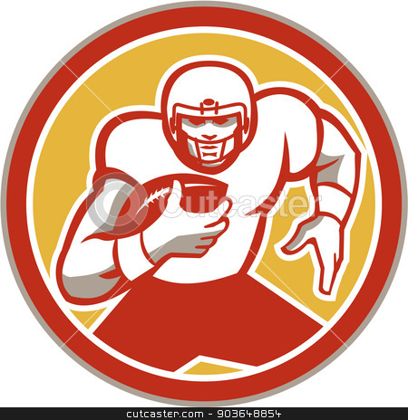American Football Running Ball Circle Retro stock vector clipart, Illustration of an american football gridiron player running back with ball facing front set inside circle done in retro style. by patrimonio