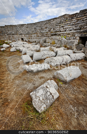Column Ruins in Perga Colosseum stock photo, Fallen column ruins at Perga in Turkey by Scott Griessel