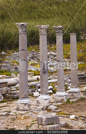 Standing reconstructed columns at Perga in Turkey stock photo, Reconstructed classic Corinthian columns at Perga in Turkey by Scott Griessel