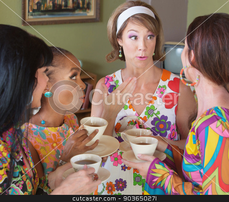 Talking with Tea stock photo, Group of four women talking and drinking tea by Scott Griessel