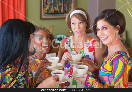 Cute Group of Women Giggling stock photo, Cute group of retro style women drinking tea by Scott Griessel