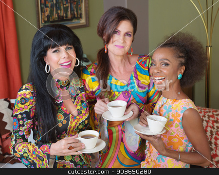 1960s Mature Women stock photo, Giggling ladies holding teacups in 1960s style by Scott Griessel