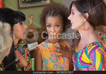 Insulted Black Woman with Friends stock photo, Surprised woman with group of gossiping friends by Scott Griessel