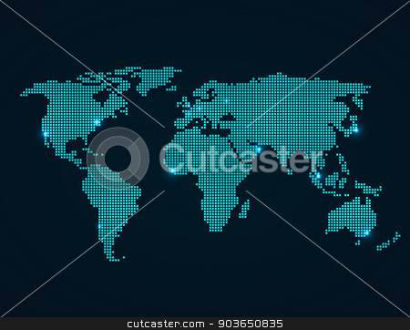 World Map stock vector clipart, World Map with folded squares vector illustration by Miroslava Hlavacova