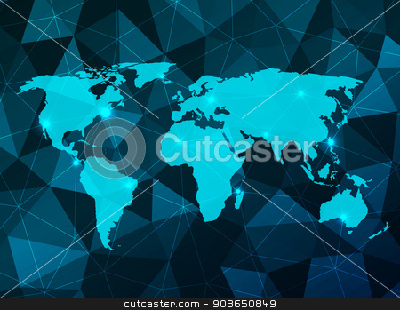 World Map stock vector clipart, Vector World Map on an abstract background by Miroslava Hlavacova