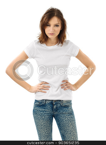 Serious brunette with blank white shirt stock photo, Photo of a beautiful brunette woman with blank white shirt. Ready for your design or artwork. by © Ron Sumners