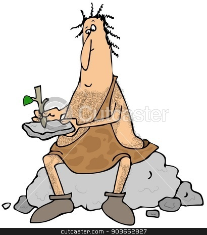Caveman writing on a stone tablet stock photo, This illustration depicts a caveman sitting on a boulder and writing on a stone tablet with a stick. by Dennis Cox