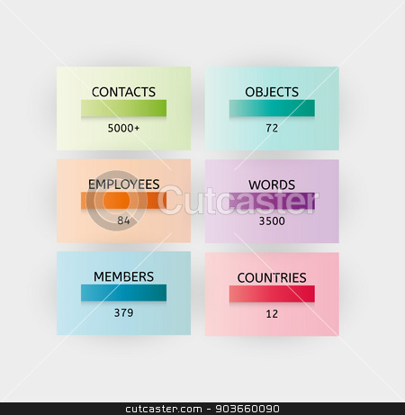 infographic illustration stock vector clipart, infographic with color boxes elements on gray background by muuraa