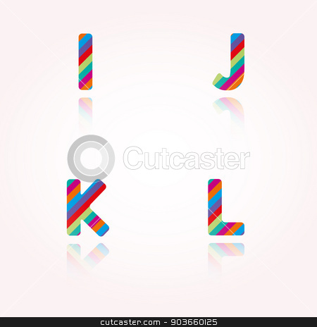 color alphabet letters stock vector clipart, alphabet letters with bright color stripes and reflection for birthday party, celebration or any joyous of funny text by muuraa
