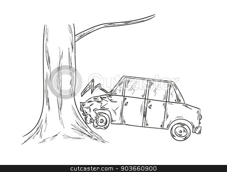 car accident sketch stock vector clipart, sketch of the car and tree, accident by muuraa