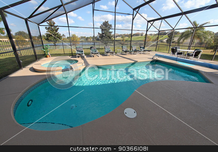 Swimming Pool with Lake View stock photo, A Swimming Pool and Spa with a view over a lake by Lucy Clark