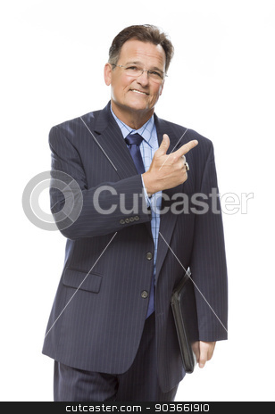 Handsome Businessman Pointing to the Side Isolated on White stock photo, Handsome Businessman Pointing to the Side Isolated on a White Background. by Andy Dean