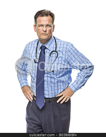 Serious Male Doctor with Stethoscope on White stock photo, Serious Male Doctor with Stethoscope Isolated on a White Background. by Andy Dean