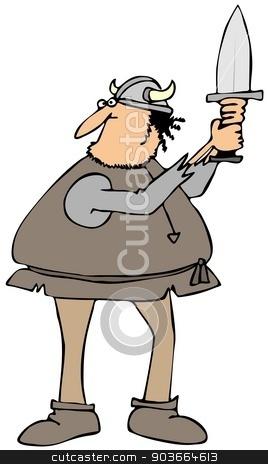 Viking raising his sword stock photo, This illustration depicts a Viking man raising his sword. by Dennis Cox