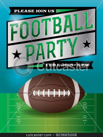 American Football Party Illustration stock vector clipart, A football party flyer. Vector EPS 10 available. EPS file is layered.  Fonts used:  http://www.fontsquirrel.com/fonts/rex http://www.fontsquirrel.com/fonts/goblin  by Jason Enterline