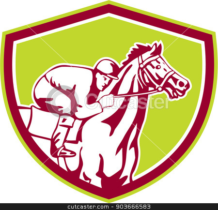 Jockey Horse Racing Shield Retro stock vector clipart, Illustration of horse and jockey racing viewed from the side set inside shield crest shape on isolated background done in retro style. by patrimonio
