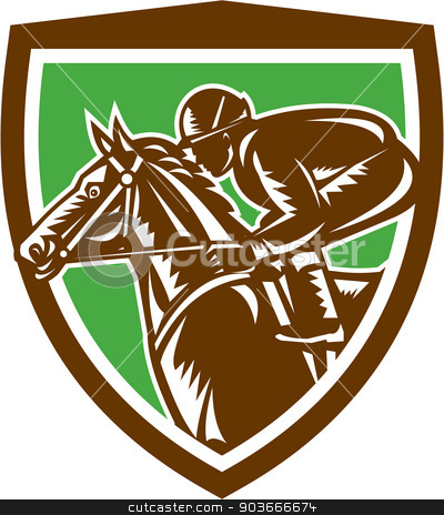 Jockey Horse Racing Side Shield Retro stock vector clipart, Illustration of horse and jockey racing viewed from the side set inside shield crest shape on isolated background done in retro woodcut style. by patrimonio