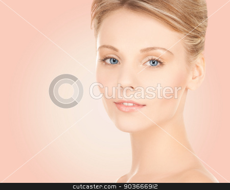 beautiful young woman face stock photo, beauty, people and health concept - beautiful young woman face over pink background by Syda Productions