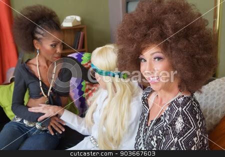 Cute Friends Talking stock photo, Three cute female mature 1960s hippies talking by Scott Griessel