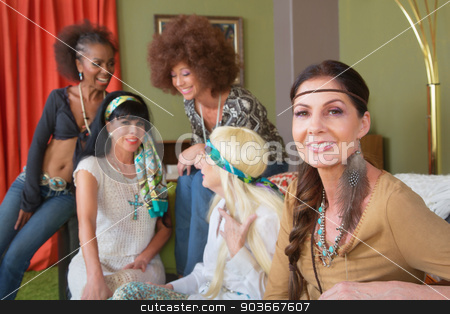 Beautiful Group of Five Friends stock photo, Beautiful female hippie sitting and talking with friends by Scott Griessel