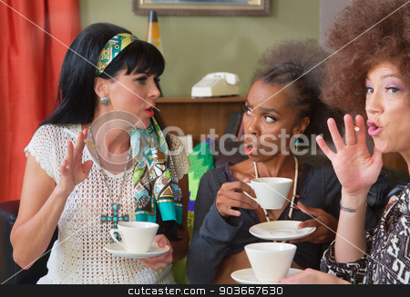 1960s Having Tea and Smoking stock photo, Trio of cute 1960s style women smoking and drinking coffee by Scott Griessel