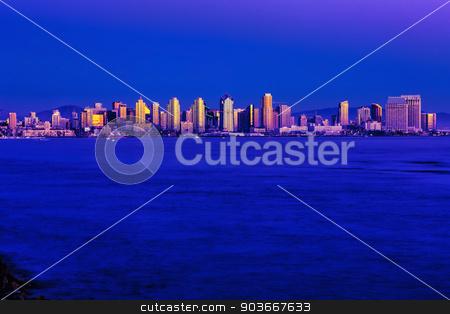 San Diego Skyline at Dusk stock photo, San Diego Skyline at Sundown from Harbor Island by Scott Griessel