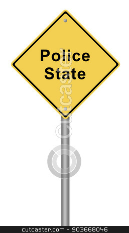 Police State stock photo, Yellow warning sign with the text Police State. by Henrik Lehnerer