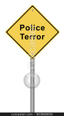 Police Terror stock photo, Yellow warning sign with the text Police Terror. by Henrik Lehnerer