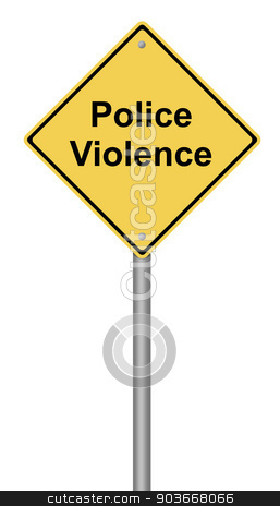 Police Violence stock photo, Yellow warning sign with the text Police Violence. by Henrik Lehnerer