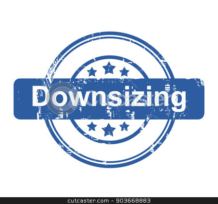 Downsizing business concept stamp stock photo, Downsizing business concept stamp with stars isolated on a white background. by Martin Crowdy