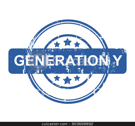 Generation Y business concept stamp stock photo, Generation Ystamp with stars isolated on a white background. by Martin Crowdy