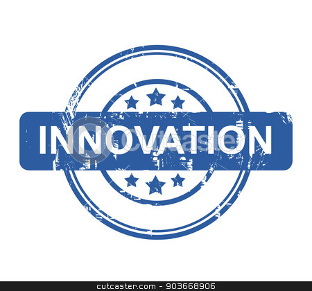 Innovation business concept stamp stock photo, Innovation business concept stamp with stars isolated on a white background. by Martin Crowdy