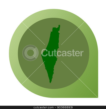Isolated Israel map marker pin stock photo, Isolated Israel map marker pin in flat web design style. by Martin Crowdy