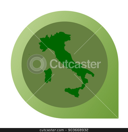 Isolated Italy map marker pin stock photo, Isolated Italy map marker pin in flat web design style. by Martin Crowdy