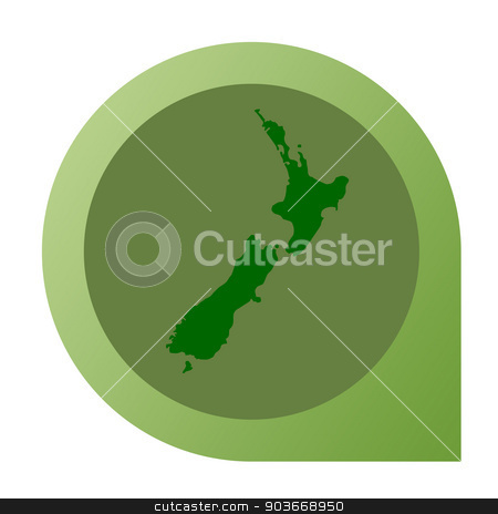 Isolated New Zealand map marker pin stock photo, Isolated New Zealand map marker pin in flat web design style. by Martin Crowdy