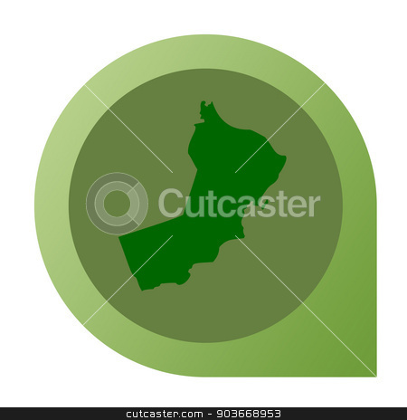 Isolated Oman map marker pin stock photo, Isolated Oman map marker pin flat web design style. by Martin Crowdy